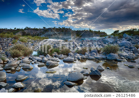 creek in baja california landscape panorama desert of stones 26125486