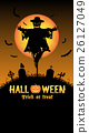 scarecrow with halloween graveyard card 26127049