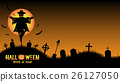 scarecrow with halloween graveyard card 26127050