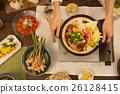俯拍 用鍋烹飪 鍋裡煮好的食物 26128415