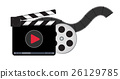 clapperboard with video streaming logo 26129785