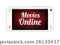 smartphone with movies online on screen 26130437
