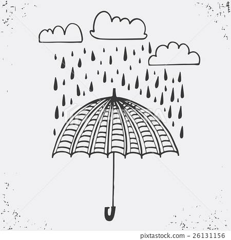 Hand drawn poster with umbrella, clouds 26131156