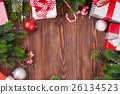 Christmas gift boxes, decor and fir tree branch 26134523