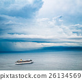 Cruise Ship. Beautiful Seascape and Dramatic Sky. 26134569