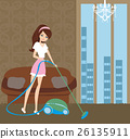 Girl with wireless vacuum cleaner 26135911