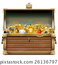 Vector Wooden Chest with Gold 26136797