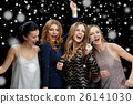 happy young women with microphone singing karaoke 26141030