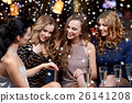 woman showing engagement ring to her friends 26141208