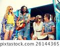 happy hippie friends playing music over minivan 26144365