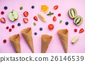 Cones and colorful various fruits raspberry . 26146539