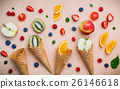 Cones and colorful various fruits raspberry. 26146618