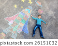 little kid boy flying by a space shuttle chalks 26151032