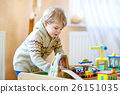 Little toddler boy playing with wooden railway 26151035