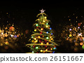 Snow Covered Christmas Tree with Multi Colored 26151667