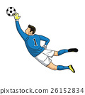 soccer goalkeeper catches the ball. vector 26152834
