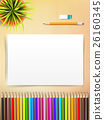 Top view of stationary blank paper and color  26160345