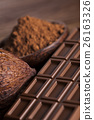 Chocolate bar, candy sweet, cacao beans and powder 26163326