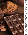 Chocolate bar, candy sweet, cacao beans and powder 26163729
