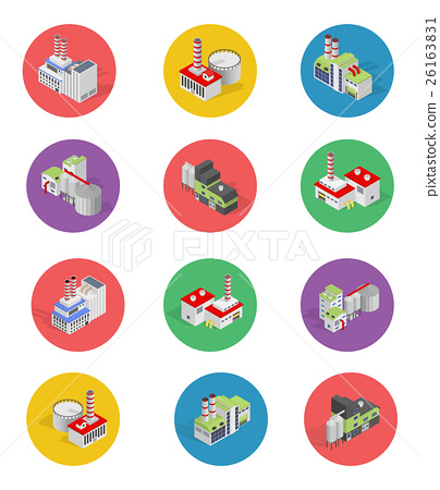 Isometric Building Factory Icons with Shadow 26163831