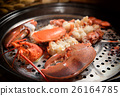 Steamed lobster with big claws on pan 26164785