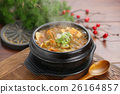 Chinese clams soup in black bowl on the taburant 26164857