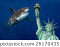 Shark near Statue of liberty in New York 26170435