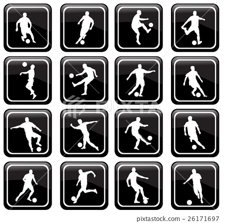 set of 16 soccer icons 26171697