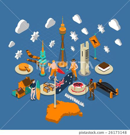 Australian Touristic Attractions Symbols Isometric 26173148