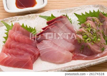 Sashimi bigeye tuna ・ yellowtail ・ bonito - Stock Photo [26174328