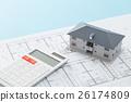 주택 도면과 집과 계산기 26174809