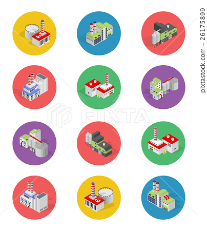 Flat industrial buildings and factories icons 26175899