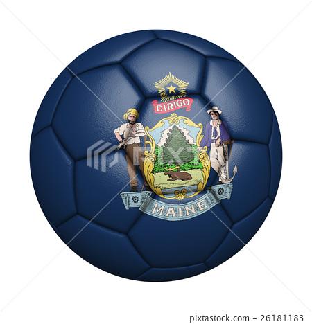 缅因州旗足球特寫,孤立在白色背景中(高分辨率 3D CG 渲染∕著色插圖) 26181183
