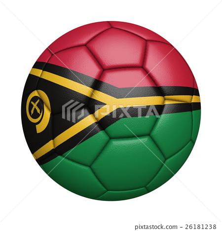 萬那杜國旗足球特寫,孤立在白色背景中(高分辨率 3D CG 渲染∕著色插圖) 26181238