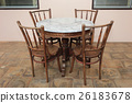 Wood Chair and Wood Table with Marble On top 26183678