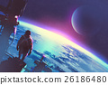 man looking at a surface of the earth from a space 26186480