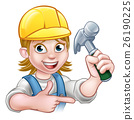 Female Carpenter Woman Cartoon Character 26190225