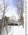 久情田城堡角落塔前Kubota城堡珍宝冬天晴朗的天蓝色天空和雪塔 26190787
