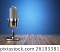 Retro old microphone. Radio show or audio podcast  26193381
