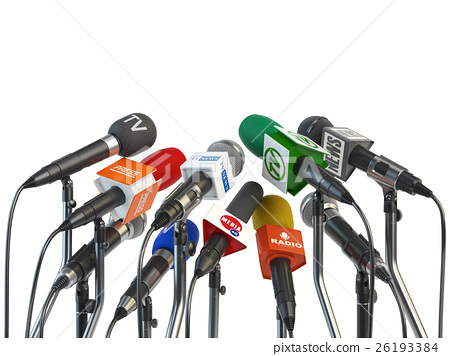 Microphones prepared for press conference 26193384