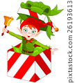 Elf Popping out of a Christmas Box 26193613