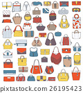 Large vector set of colorful doodle fashion bags 26195423