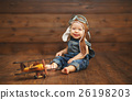 funny baby boy pilot aviator with airplane laughing 26198203