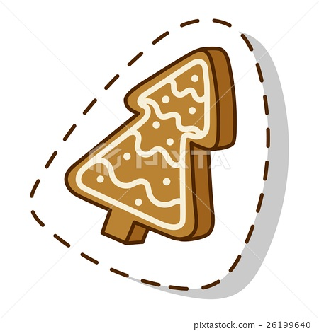 Christmas cookie cake isolated vector icon 26199640