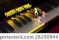Women dancing on piano keyboard happy new year 26200944