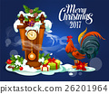 christmas, rooster, vector 26201964