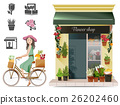 Lady shopping flowers by a bicycle. 26202460