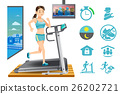 Woman use treadmill exercise machine in the house. 26202721