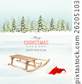 Winter Christmas background with a sleigh 26205103