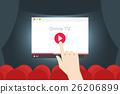Online TV Flat Vector Iillustration. Hand Over 26206899